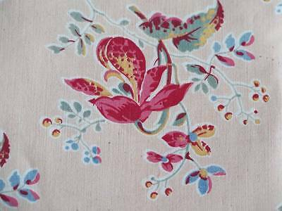 Antique 19th Century Fabric Printed Cotton Indienne Floral French English