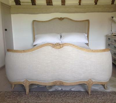 "Restored Antique French Upholstered Corbeille Double 4'6"" Bed In Oyster Linen"