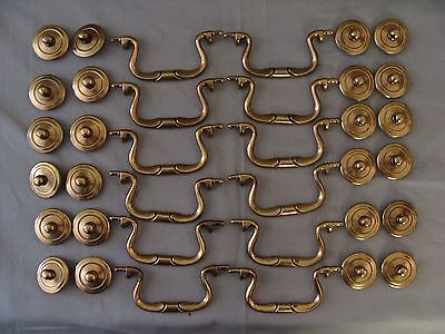 "12 ""New Old Stock"" Solid Brass Drawer/Cabinet Bail Pulls - 3 1/2"" Boring"