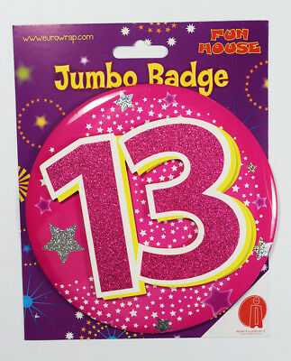 13 Today Birthday Badge Age Jumbo Large Girls Party Decoration 13th Accessory