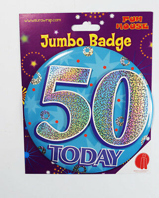 50 Today Jumbo Birthday Badge Male Party Accessory Holographic Men Stand Pin-On