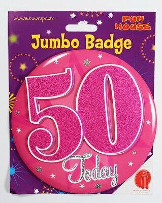50 Today Birthday Badge Age Jumbo Large Girls Party Decoration 50th Accessory