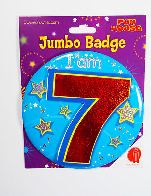 I Am 7 Boys Birthday Badge Clip-On Stand Holographic Kids Children Present Party