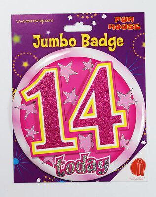 14 Today Birthday Badge Age Jumbo Large Girls Party Decoration 14th Accessory