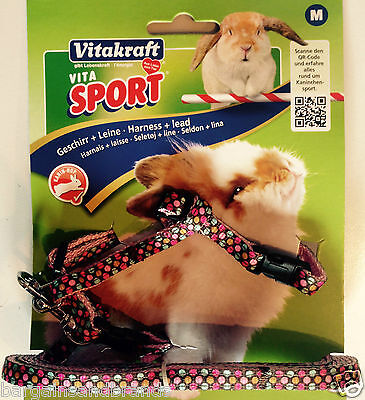 Vitakraft™ 🐰 Rabbit Sport Harness & Lead Set 🐇 Medium Large Pink or Black 🐰
