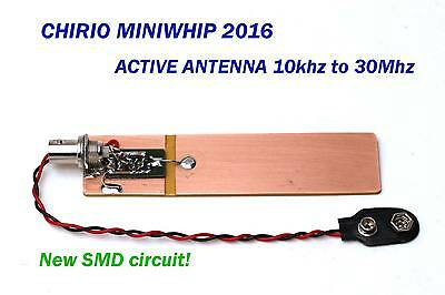 Mini Whip 2016 active antenna 10Khz to 30Mhz HF Band for receiver  9V battery