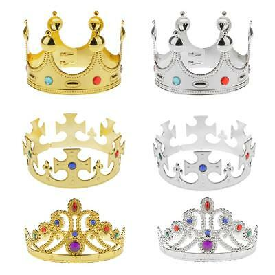 Plastic King Queen MAJESTIC CROWN Royal Fancy Dress Hat Costume Silver/Gold