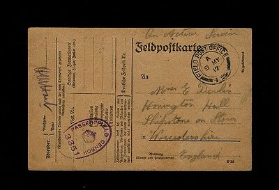 """FIELD POST OFFICE 15"" on 1917 CAPTURED GERMAN Field Card to Shipston On Stour"