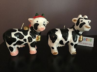 Vintage Christmas Cow Shaped Wax Candles Lot Of 2 Santa Hat