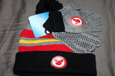 MICKEY MOUSE Disney WINTER HAT GLVES SET One Size 5+ boys / teen 100% AUTHENTIC