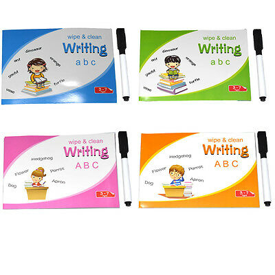 Childrens Kids Learning Handwriting Practice Wipe Clean Writing Alphabet Book