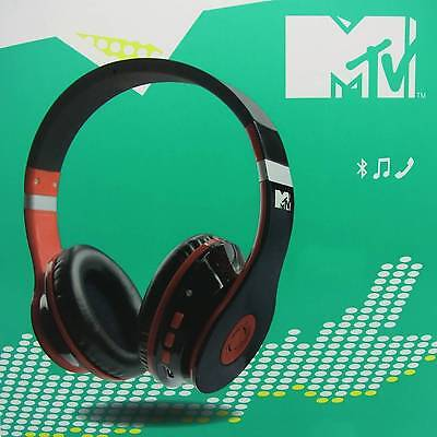 MTV Over-Ear Bluetooth Kopfhörer Wireless Headset Headphones Stereo Schwarz/Rot