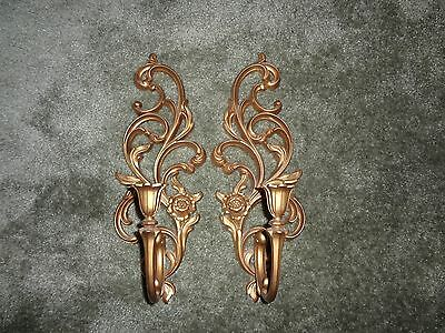 "Antique Gold Wall Sconces Ornate Syroco Candle Holders #4531R  16 1/2"" Set 2"