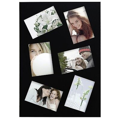 """Adeco Black Wood 6-Opening 4x6"""" Slanted Wall Collage Picture Photo Frames"""