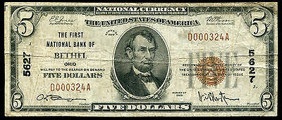 1929 $5 The First National Bank Of Bethel, Oh National Currency Ch. #5627