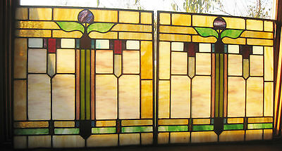 PAIR ANTIQUE ARTS & CRAFTS  STAINED  GLASS WINDOWS - ca. 1915