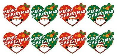 Red & Green HEART Labels 'MERRY CHRISTMAS' Gift Seal Christmas Present Stickers