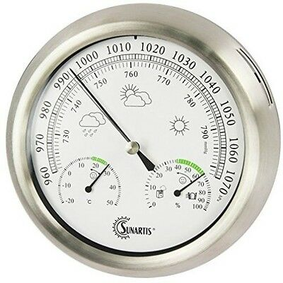 Outdoor Weather Station Stainless Steel Frame Thermometer Hygrometer Barometer
