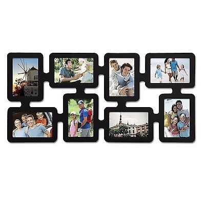 """Adeco 8-Opening 4x6"""" Black Wood Wall Hanging Picture Photo Frame,Plexiglass"""