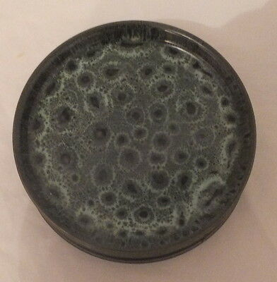 FOSTERS STUDIO POTTERY  CORNWALL Soup Side Plate Green Honeycomb Pattern