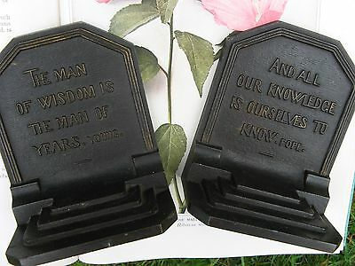 Antique~Signed Pair~Bradley & Hubbard Bookends~Quotes~AUTHORS~Library~Study~NICE