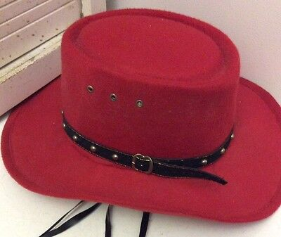 Western Express Inc Cowboy Hat Red Felt - 6 7/8 with Straps