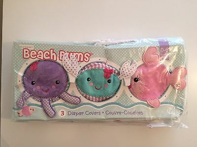 Baby Aspen Beach Bums Set Of 3 Bloomers Pink blue green 0-6 Months Diaper Covers