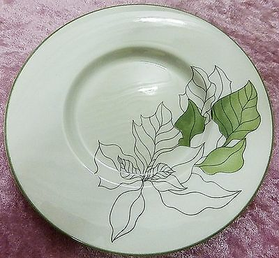 "MARY LOU GOERTZEN watercolors Block Spal 6"" white w/leaves plate from Portugal"