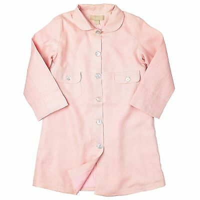 Little Linens Girls Summer Linen Dress AND Coat Pale Pink 8-9 Y BNWT
