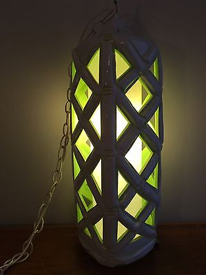 Faux Bamboo Hanging Swag Lamp Glows Green! Hollywood Regency Style Ceramic