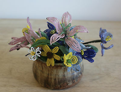 Vintage French Glass Beaded Flowers Large Lot Nice Mixture Handmade  40 pieces
