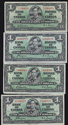 Lot of 4 Nice Condition 1937 Bank of Canada $1 Banknotes