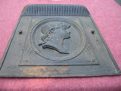 ANTIQUE CAST IRON FIGURAL FIREPLACE INSERT SUMMER PANEL 1800s BUST