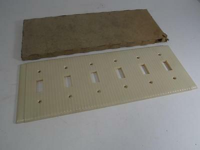 Vintage New Old Stock Arrow Hart Bakelite Wall Plate 6 Switch Ribbed