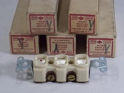 Vintage Lot Of 5 New Old Stock Ivory Triplex Outlets Pass & Seymour
