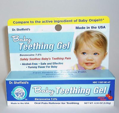 Dr. Sheffield's Baby Teething Gel Safely Soothes Baby Teething Pain NIB 0.33 oz/