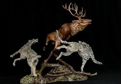 Scottish Deerhound and Deer Real  Bronze by Leslie Hutto Limited edition of 15