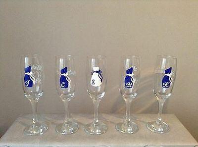 Personalised champagne flutes x 5 - wedding  favours-mother of bride/bridesmaid