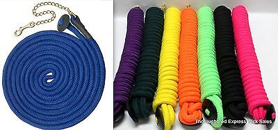 Tough-1 Black Rolled Cotton 25' Lunge Line w/ Chain Rubber Hand Stop Horse Tack