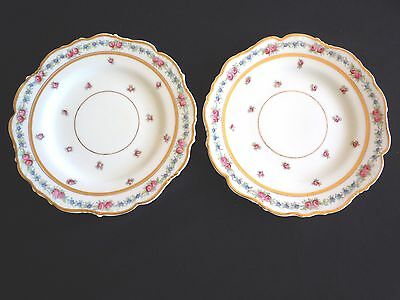 Pair (2)  Vintage, Cauldon, Floral gold rimmed, scalloped plates, shabby chic.