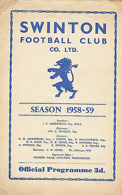 Swinton v Wigan 30 Aug 1958 Lancashire Cup - 1st round RUGBY LEAGUE PROGRAMME