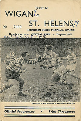 Wigan v St Helens 26 Dec 1959 RUGBY LEAGUE PROGRAMME