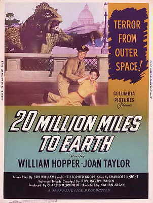 20 MILLION MILES TO EARTH Movie POSTER 27x40 E William Hopper Joan Taylor Frank