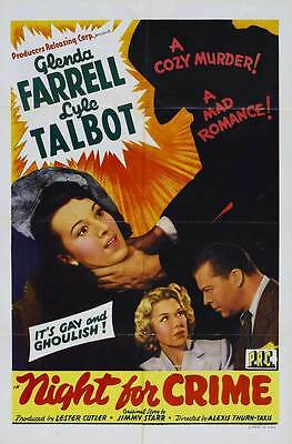 A NIGHT FOR CRIME Movie POSTER 27x40 Glenda Farrell Lyle Talbot Lina Basquette