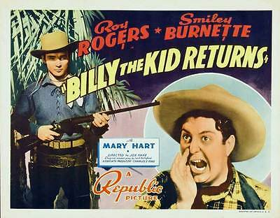 """BILLY THE KID RETURNS Movie POSTER 30x40 Roy Rogers George """"Gabby"""" Hayes Smiley"""