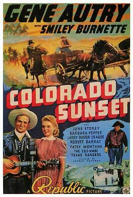 COLORADO SUNSET Movie POSTER 27x40 Gene Autry Smiley Burnette Buster Crabbe June