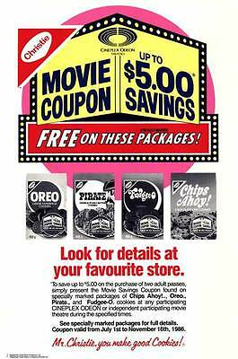 CINEPLEX ODEON NABISCO COUPON SAVINGS Movie POSTER 27x40 B