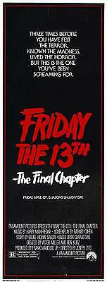 FRIDAY THE 13TH PART 4 --THE FINAL CHAPTER Movie POSTER 14x36 Insert Erich