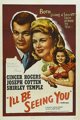 I'LL BE SEEING YOU Movie POSTER 27x40 Ginger Rogers Joseph Cotten Shirley Temple