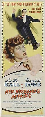 HER HUSBAND'S AFFAIRS Movie POSTER 14x36 Insert Lucille Ball Franchot Tone